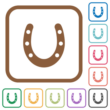 Horseshoe simple icons in color rounded square frames on white background