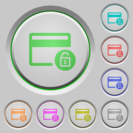 Unlock credit card transactions color icons on sunk push buttons