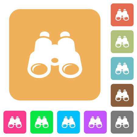 Binoculars flat icons on rounded square vivid color backgrounds.