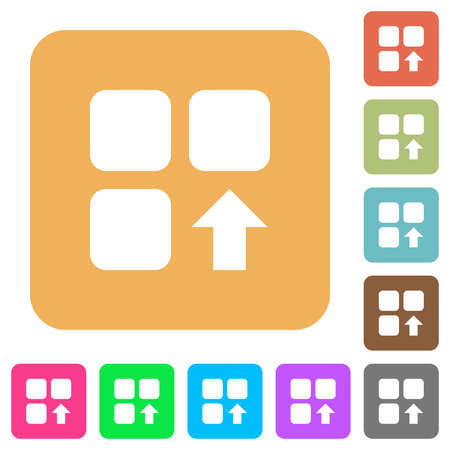 Move up component flat icons on rounded square vivid color backgrounds.