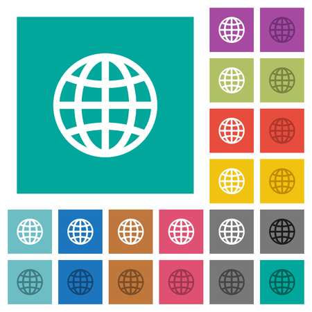 Globe multi colored flat icons on plain square backgrounds.