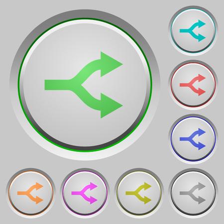 Split arrows color icons on sunk push buttons