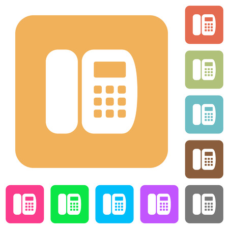 Office phone flat icons on rounded square vivid color backgrounds.