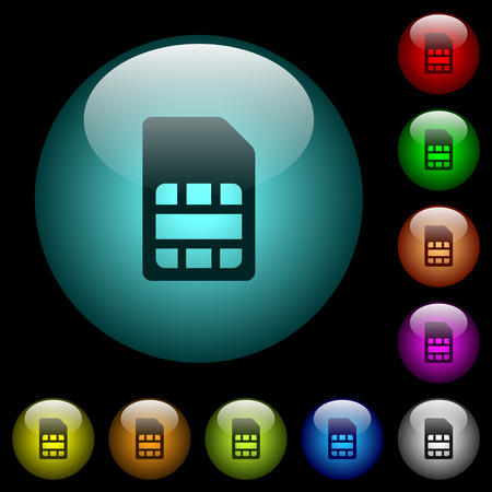 SIM card icons in color illuminated spherical glass buttons on black background. Can be used to black or dark templates