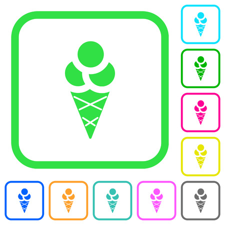 Ice cream vivid colored flat icons in curved borders on white background