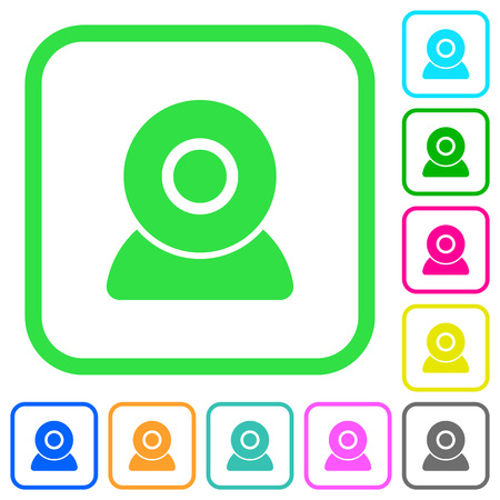 Webcam vivid colored flat icons in curved borders on white background