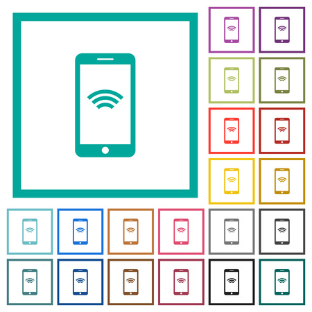 Cellphone with wireless network symbol flat color icons with quadrant frames on white background