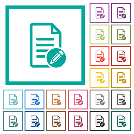 Edit document flat color icons with quadrant frames on white background Illustration