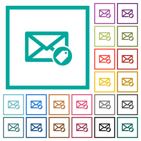 Tagging mail flat color icons with quadrant frames on white background