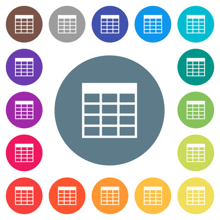 Spreadsheet table flat white icons on round color backgrounds.