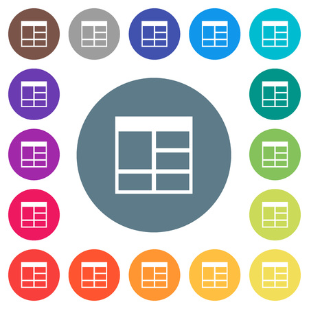 Spreadsheet vertically merge table cells flat white icons on round color backgrounds. 17 background color variations are included.