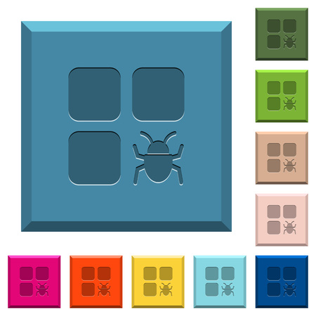 Component bug engraved icons on edged square buttons in various trendy colors