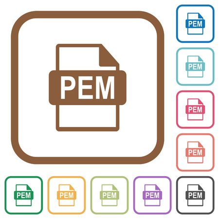 PEM file format simple icons in color rounded square frames on white background