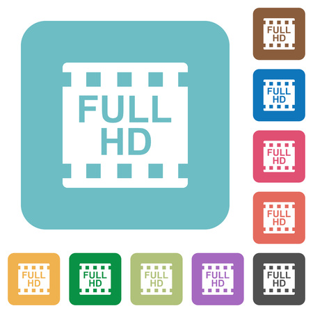 Full HD movie format white flat icons on color rounded square backgrounds