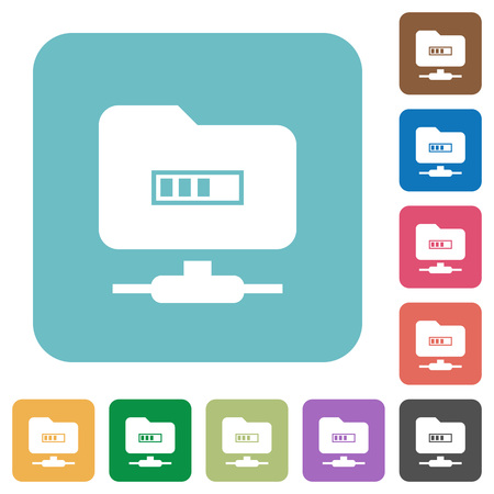 FTP Processing white flat icons on color rounded square backgrounds