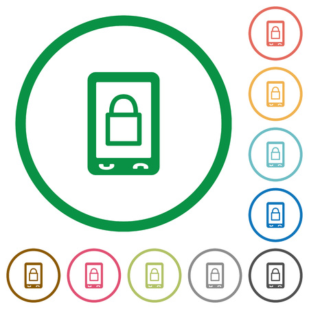 Lock mobile flat color icons in round outlines on white background Ilustração