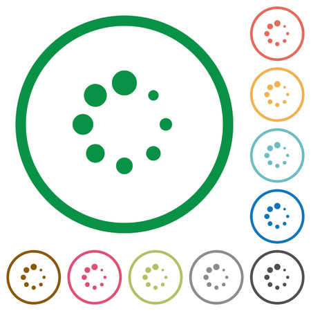 Preloader symbol flat color icons in round outlines on white background Ilustrace