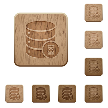 Database working on rounded square carved wooden button styles set Illustration