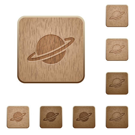 Planet on rounded square carved wooden button styles