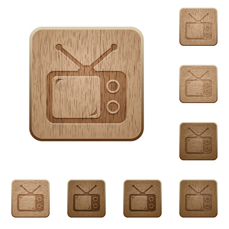 Vintage retro television on rounded square carved wooden button styles Ilustração