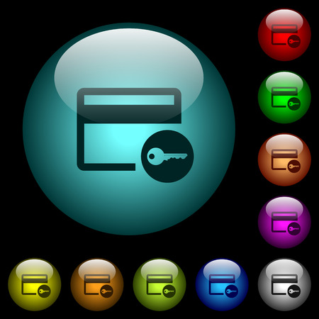 Credit card access icons in color illuminated spherical glass buttons on black background. Can be used to black or dark templates