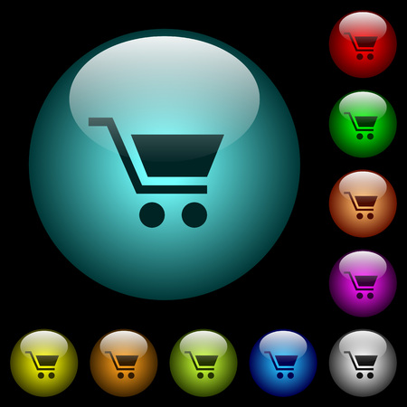 Empty shopping cart icons in color illuminated spherical glass buttons on black background. Can be used to black or dark templates