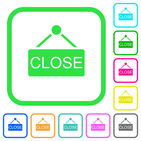 Close sign vivid colored flat icons in curved borders on white background