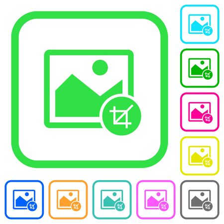 Crop image vivid colored flat icons in curved borders on white background