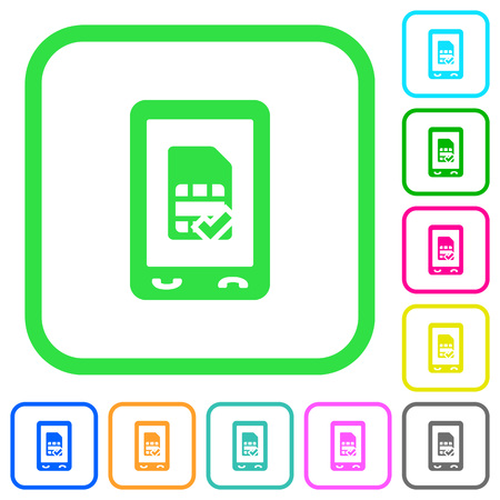 Mobile simcard accepted vivid colored flat icons in curved borders on white background