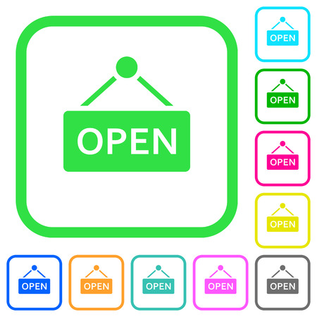 Open sign vivid colored flat icons in curved borders on white background