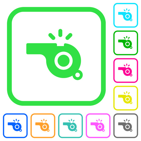 Whistle vivid colored flat icons in curved borders on white background