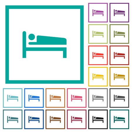 Sleeping man flat color icons with quadrant frames on white background