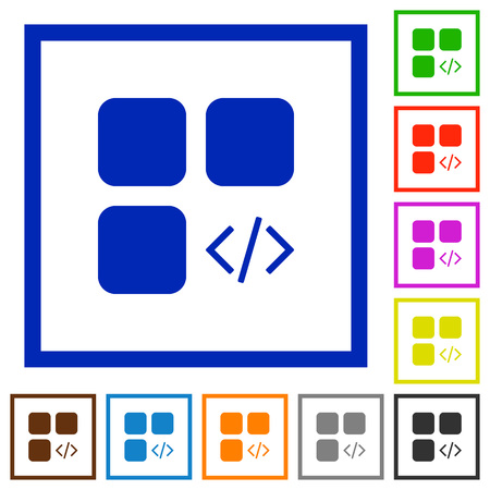 Component programming flat color icons in square frames set Illusztráció