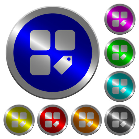 Tag component icons on round luminous coin-like color steel buttons set