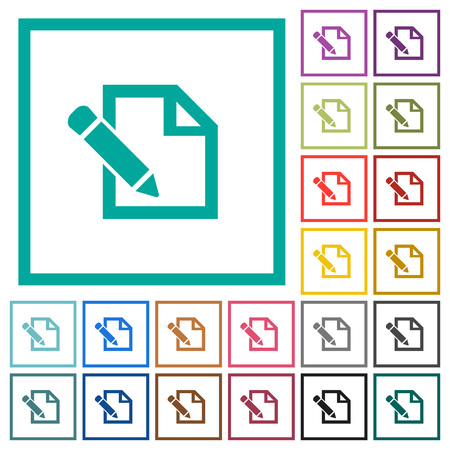 Edit with pencil flat color icons with quadrant frames