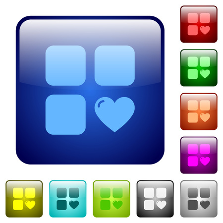 Favorite component icons in rounded square color glossy button set Illusztráció