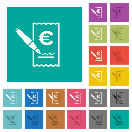 Signing Euro cheque multi colored flat icons on plain square backgrounds. Included white and darker icon variations for hover or active effects.