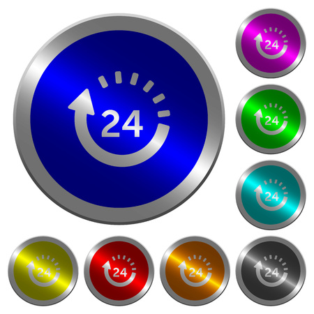 24 hour delivery icons on round luminous coin-like color steel buttons.