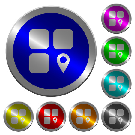 Component location icons on round luminous coin-like color steel buttons. Illusztráció
