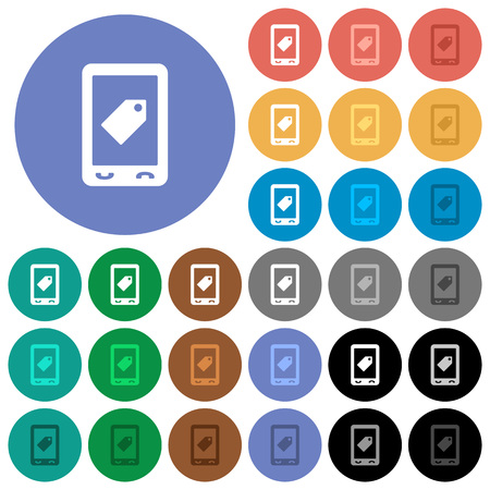 Mobile label multi colored flat icons on round backgrounds. Included white, light and dark icon variations for hover and active status effects, and bonus shades on white background.