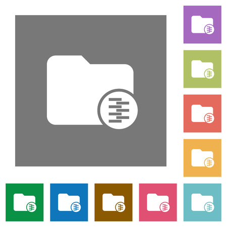 Compressed directory flat icons on simple color square backgrounds Illusztráció