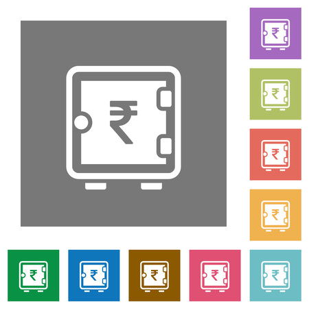 Indian Rupee strong box flat icons on simple color square backgrounds