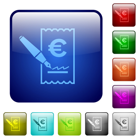 Signing Euro cheque icons in rounded square color glossy button set Vectores
