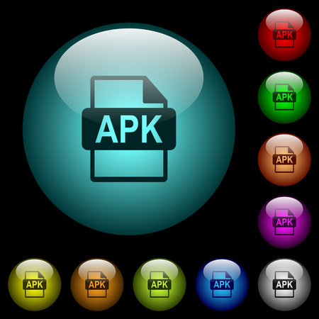 APK file format icons in color illuminated spherical glass buttons on black background. Can be used to black or dark templates