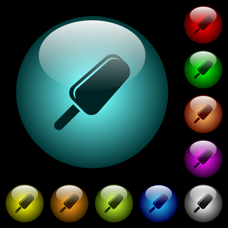 Ice lolly icons in color illuminated spherical glass buttons on black background. Can be used to black or dark templates