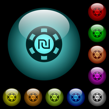 New Shekel casino chip icons in color illuminated spherical glass buttons on black background. Can be used to black or dark templates