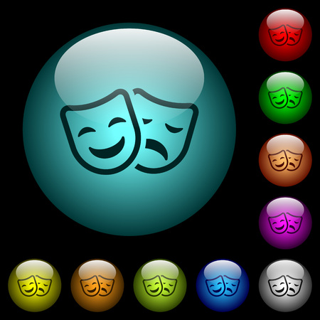 Comedy and tragedy theatrical masks icons in color illuminated spherical glass buttons on black background.