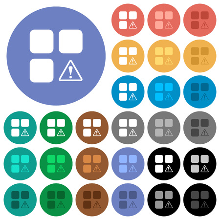 Component warning multi colored flat icons on round backgrounds. Included white, light and dark icon variations for hover and active status effects, and bonus shades on white background.