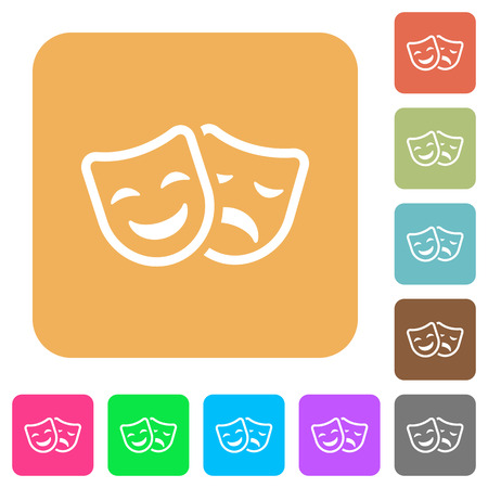 Comedy and tragedy theatrical masks flat icons on rounded square vivid color backgrounds.