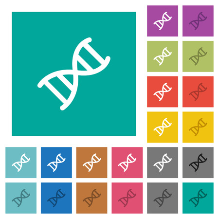 DNA molecule multi colored flat icons on plain square backgrounds. Included white and darker icon variations for hover or active effects. Illustration